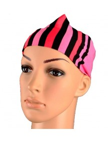 Headband white stripes, beige and coral