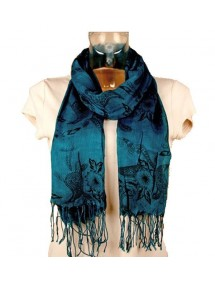 Light ultramarine scarf black flowers