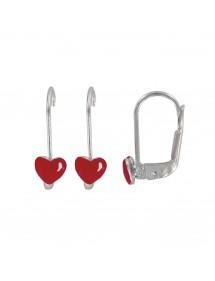 Heart earrings red enamel Silver 925/1000