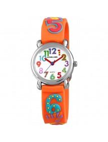 Montre grands chiffres colorés Excellanc bracelet en silicone orange 4500020-004 Excellanc 24,00€