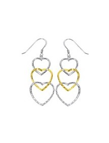 Earrings with three hearts in gold and rhodium plated silver 3130348 Laval 1878 29,90 €