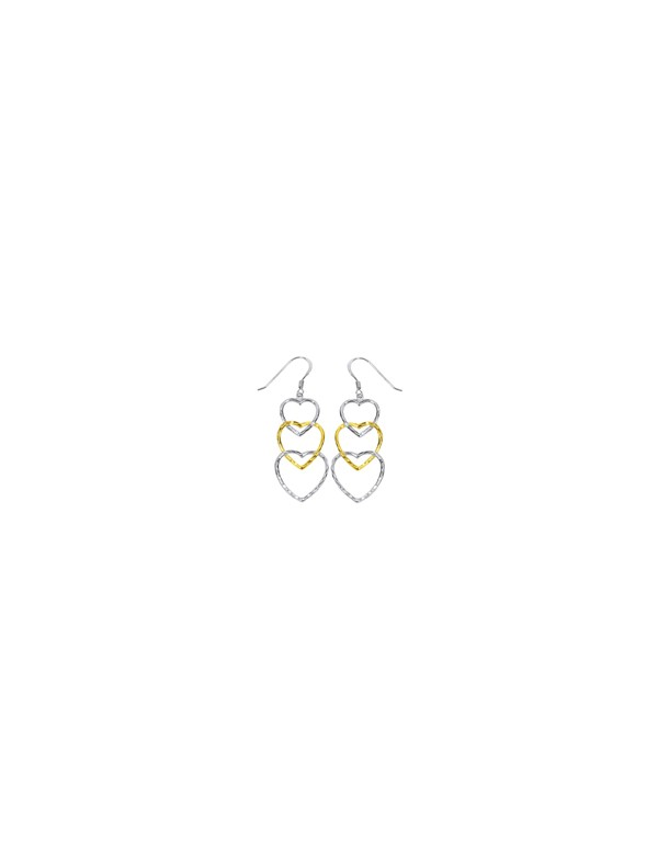 Earrings with three hearts in gold and rhodium plated silver 3130348 Laval 1878 39,90€