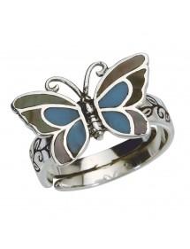 Anillo de mariposa azul con nácar en plata antigua - 52 à 56 3111233PM Laval 1878 22,00€