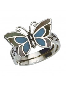 Blauer Schmetterlingsring mit Perlmutt in Antiksilber - 52 à 56 3111233PM Laval 1878 22,00€