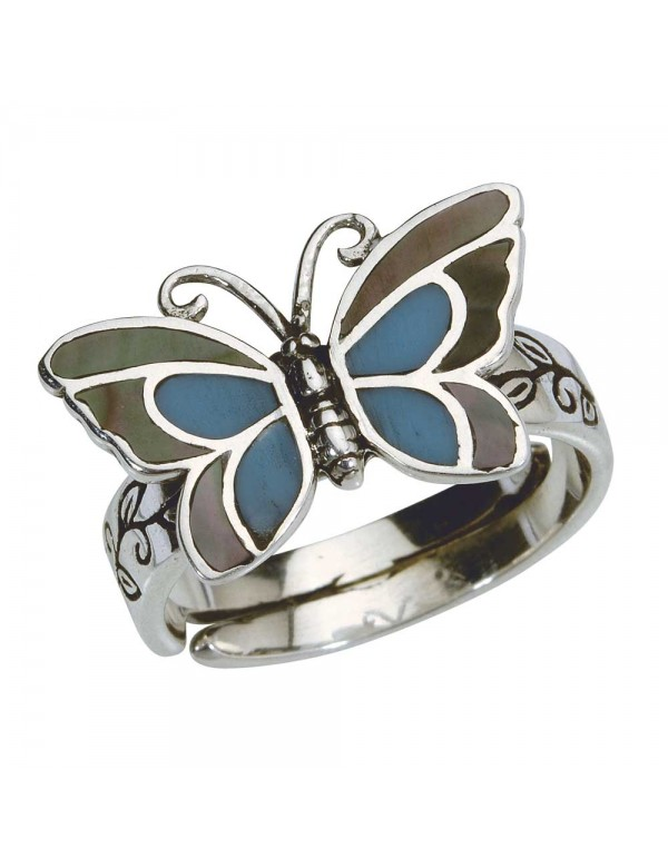 Blue butterfly ring with mother-of-pearl in antique sterling silver - Size 58 to 62 3111233GM Laval 1878 22,00€