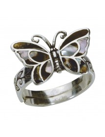 Bague papillon marron avec nacre en argent massif vieilli - Taille 58 à 62 3111235GM Laval 1878 22,00€