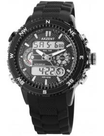 Akzent men's digital watch and hands, black silicone strap 2800023-001 Akzent 38,00€