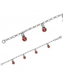 Bracelet decorated with red ladybugs in rhodium silver 3180300 Suzette et Benjamin 39,00 €