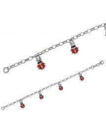 Bracelet en argent rhodié orné de coccinelles rouge 39,00€ 39,00€