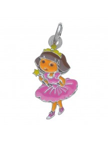 DORA PRINCESSE enamel and rhodium-plated sterling silver pendant 3161046 Dora l'exploratrice 36,00 €