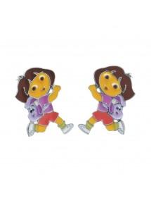 Boucles d'oreilles DORA L'EXPLORATRICE avec son sac à dos en émail et argent rhodié 3131079 Dora l'exploratrice 59,90€