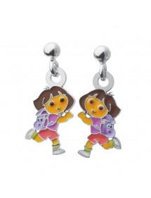 Boucles d'oreilles pendantes DORA L'EXPLORATRICE en argent rhodié et émail 3131078 Dora l'exploratrice 69,90€