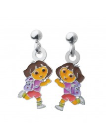 DORA L'EXPLORATRICE pendant earrings in rhodium silver and enamel 3131078 Dora l'exploratrice 69,90 €