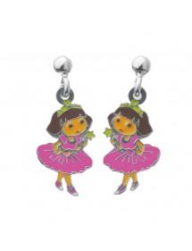 Boucles d'oreilles pendantes DORA PRINCESSE en argent rhodié et émail 3131077 Dora l'exploratrice 79,90€