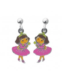 DORA PRINCESSE pendant earrings in rhodium silver and enamel 3131077 Dora l'exploratrice 79,90€