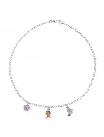 DORA L'EXPLORATRICE, Halskette mit Babouche- und Schmetterlingsanhänger aus Rhodiumsilber und Emaille 3170967 Dora l'explorat...