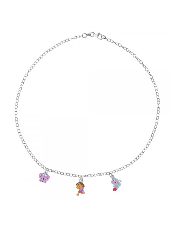 DORA L'EXPLORATRICE, Babouche and butterfly pendant necklace in rhodium silver and enamel 3170967 Dora l'exploratrice 89,90 €