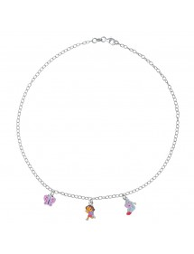 DORA L'EXPLORATRICE, Babouche and butterfly pendant necklace in rhodium silver and enamel 3170967 Dora l'exploratrice 89,90€
