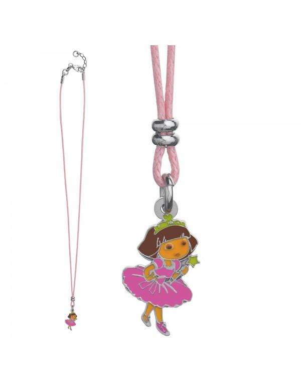 Collar de algodón rosa claro DORA PRINCESSE en plata rodiada y esmalte 3170962 Dora l'exploratrice 56,00€
