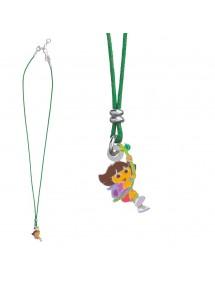 DORA L'EXPLORATRICE green cotton necklace in rhodium silver and enamel 3170971 Dora l'exploratrice 56,00€