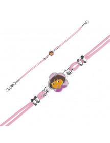 DORA L'EXPLORATRICE pulsera de cordón de algodón rosa en plata rodiada y esmalte 3181066 Dora l'exploratrice 49,90€