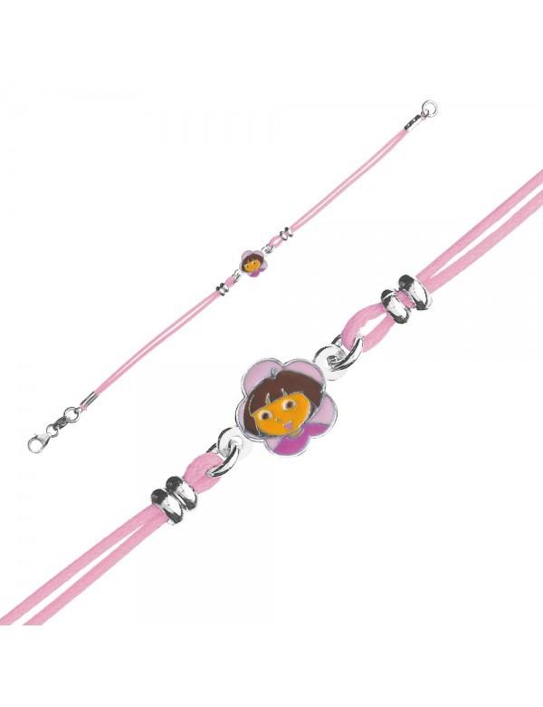 DORA L'EXPLORATRICE pink cotton cord bracelet in rhodium silver and enamel 3181066 Dora l'exploratrice 49,90 €