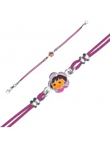 DORA L'EXPLORATRICE fuchsia cotton cord bracelet in rhodium silver and enamel 3181067 Dora l'exploratrice 49,90 €