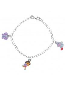 DORA L'EXPLORATRICE, Babouche and butterfly bracelet in rhodium silver and enamel 3181062 Dora l'exploratrice 79,90€