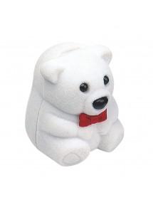 Écrin bague ou boucles d'oreilles nounours avec nœud rouge en velours blanc 700676 Laval 1878 4,50€