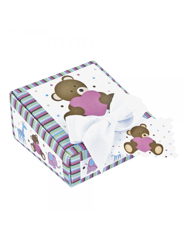 cardboard teddy bear jewelry box decorated with a white bow 703316 Laval 1878 3,90€