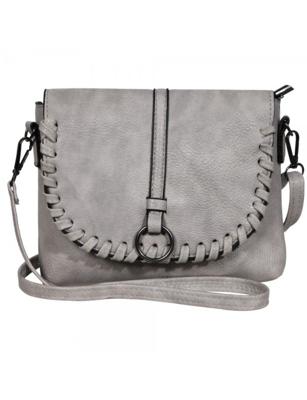 Faux leather handbag with shoulder strap - Gray 3600131-002 Sans marque 19,90 €