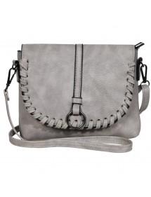 Faux leather handbag with shoulder strap - Gray 3600131-002 Sans marque 19,90€