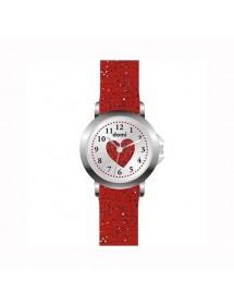Montre fille Domi, avec coeur et bracelet plastique rouge pailleté 753979 DOMI 29,90€