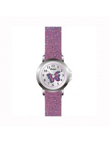 Domi Mädchenuhr, mit Schmetterling und glitzerndem lila Plastikarmband 753980 DOMI 29,90€