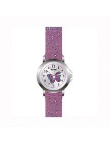 Montre fille Domi, avec papillon et bracelet plastique violet pailleté 753980 DOMI 29,90€