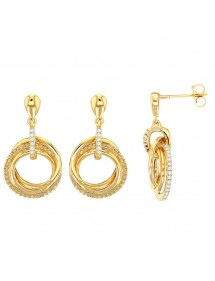Gold-plated triple hoop earrings, one of which is covered with zirconium oxides 3230155 Laval 1878 79,90 €