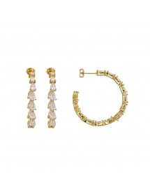 Open earrings in gold plated adorned with cubic zirconia 3230212 Laval 1878 69,90 €