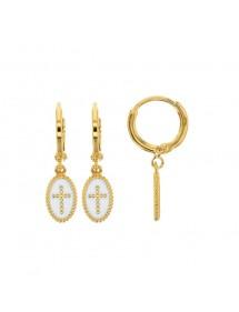 White enamel cross oval gold plated earrings 3230237BL Laval 1878 58,00€