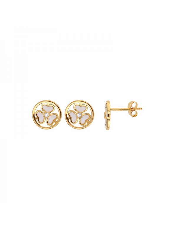 Gold-plated earrings adorned with white enamel and cubic zirconia hearts 3230227 Laval 1878 49,90 €