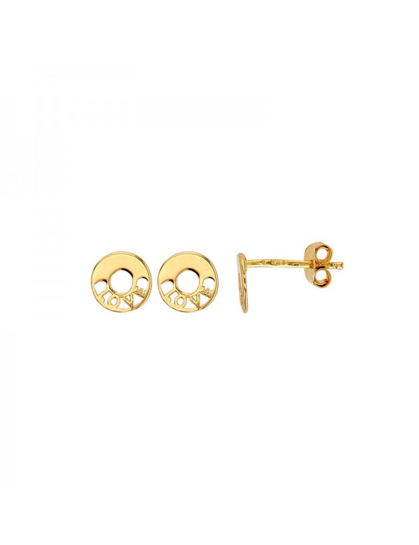 Round stud earrings with openwork LOVE in gold plated 3230232 Laval 1878 29,90 €