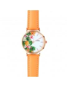 Montre Lutetia cadran motif ananas et bracelet synthétique couleur corail 750138 Lutetia 59,90€
