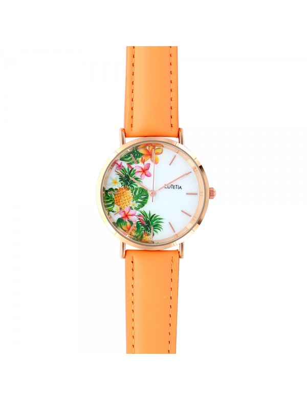 Lutetia watch with pineapple pattern dial and synthetic coral strap 750138 Lutetia 59,90 €