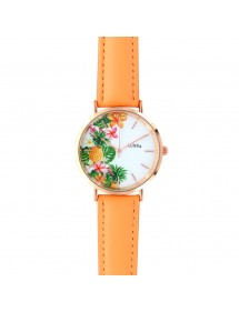 Lutetia watch with pineapple pattern dial and synthetic coral strap 750138 Lutetia 59,90€