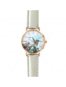 Reloj Lutetia con esfera con motivos de pájaros y correa plateada sintética 750137 Lutetia 59,90€
