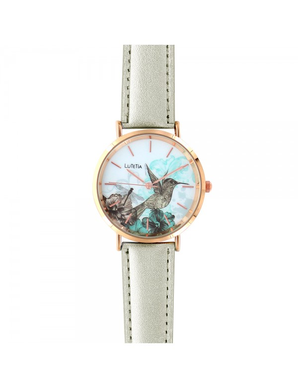 Lutetia watch with bird motif dial and synthetic silver strap 750137 Lutetia 59,90€