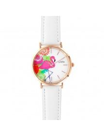 Reloj flamenco rosa Lutetia, pulsera sintética blanca. 750141 Lutetia 59,90€