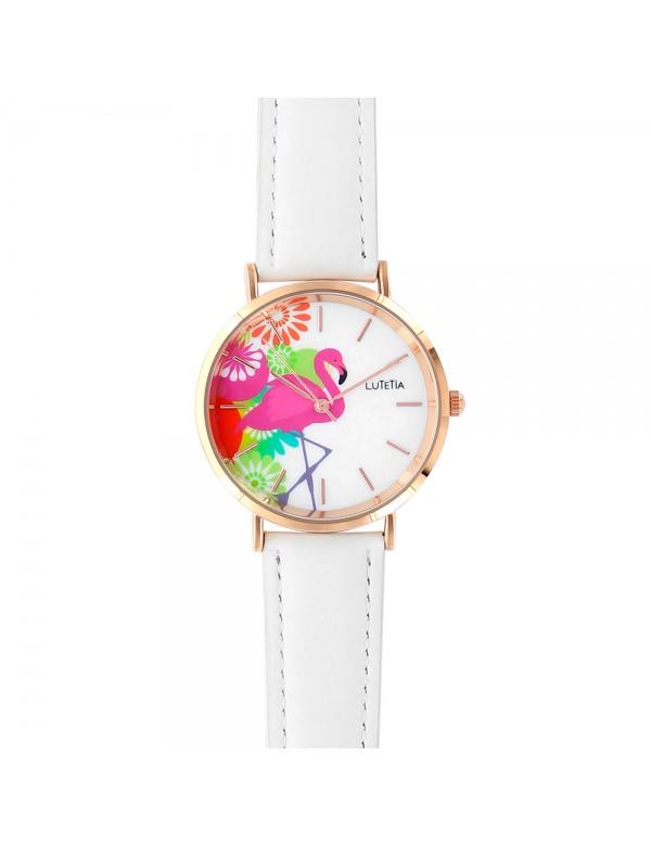 Lutetia flamingo motif watch, white synthetic strap 750141 Lutetia 59,90€