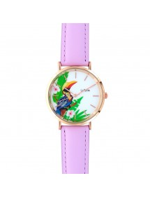 Lutetia watch with toucan pattern dial and purple synthetic strap 750140 Lutetia 59,90 €