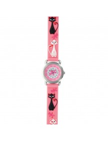 """Children's watch """"Cats"""" metal case and pink silicone strap 753968 DOMI 39,90€"""