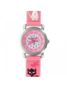 """Reloj infantil """"Cats"""" con caja de metal y correa de silicona rosa 753968 DOMI 39,90€"""